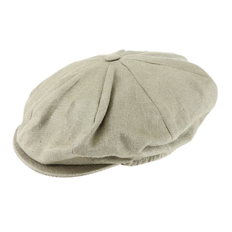 Angle view on Hanna Hats Vintage Linen 8 piece cap in Sage