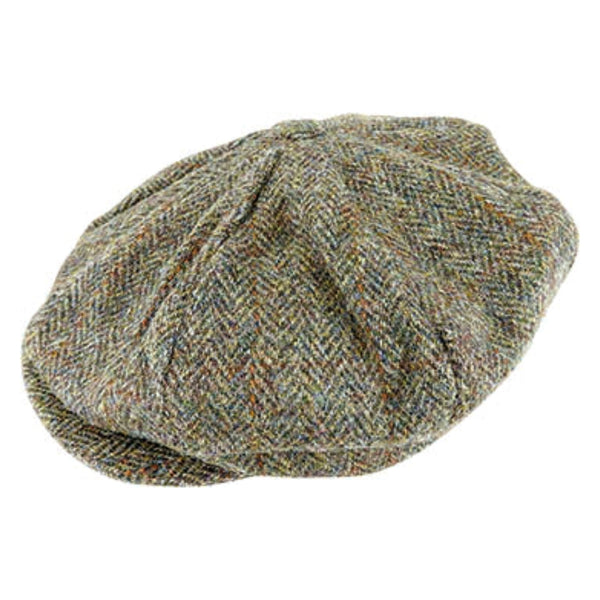 Hanna Hats Vintage Tweed 8 piece cap in Khaki 2146