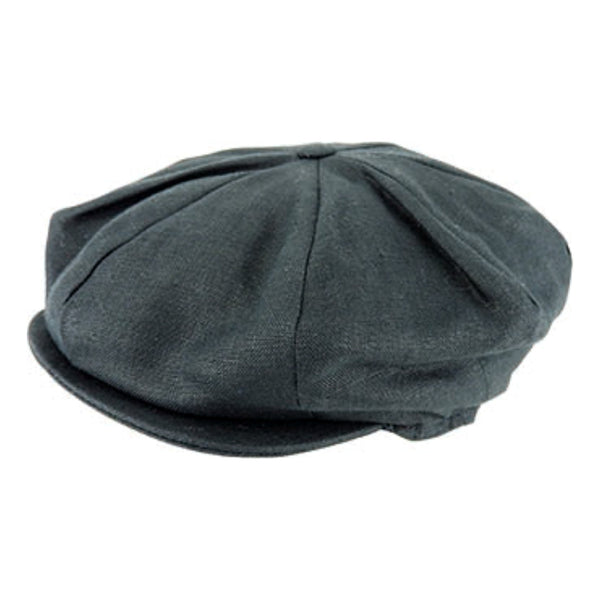 side view Hanna Hats vintage Linen 8 piece cap in Black