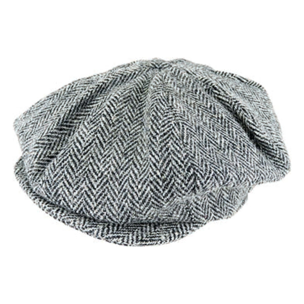 Hanna Hats Vintage Tweed 8 piece cap in Grey 2146