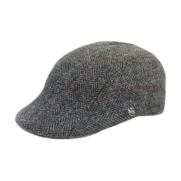 Angle view of the Hills Hats Dartford Tweed Duckbill cap in charcoal colour