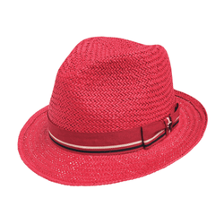 Angle view of Hills Hats Piha Trilby hat in Red