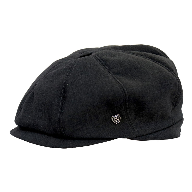 Side View of the Hills hats Portland linen cap in Black