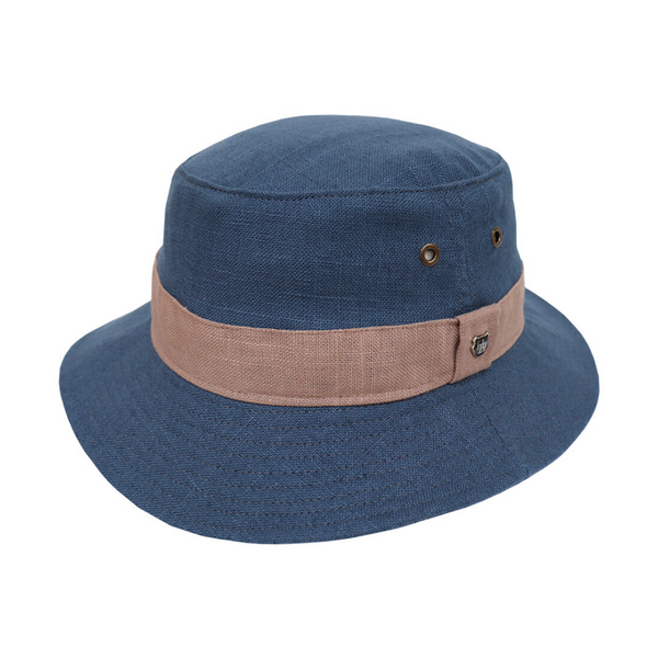Hills Hats Pure Linen Contrast Bucket Hat in Navy