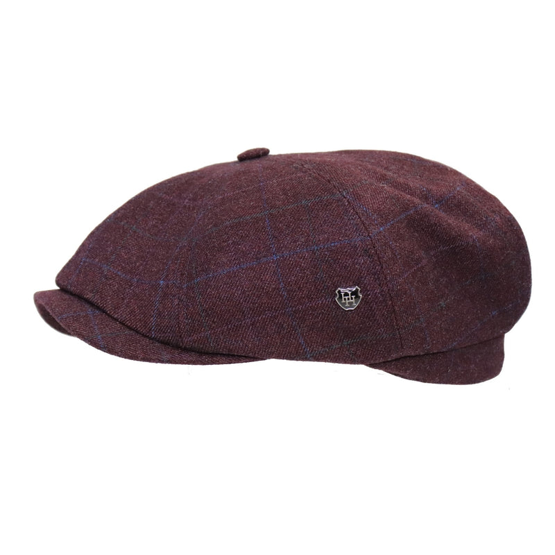 Side view of Hills Hats Harlow paperboy cap in maroon