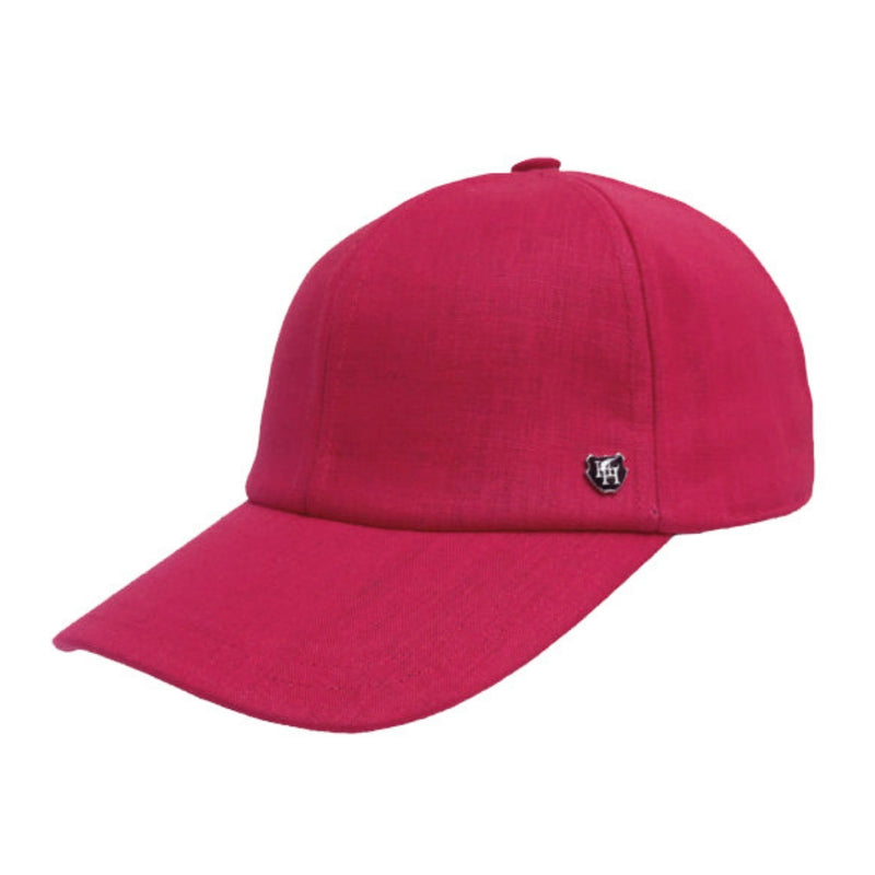 Angle view of Hills Hats Portland linen baseball cap in red