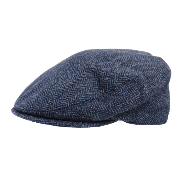 Angle view of Hills Hats Dartford Tweed Cheesecutter cap in navy