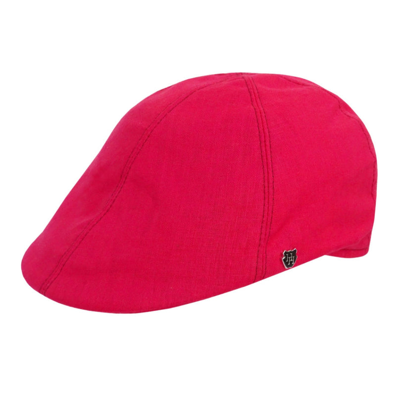 Angle view of Hills Hats Portland Linen Duckbill cap in red