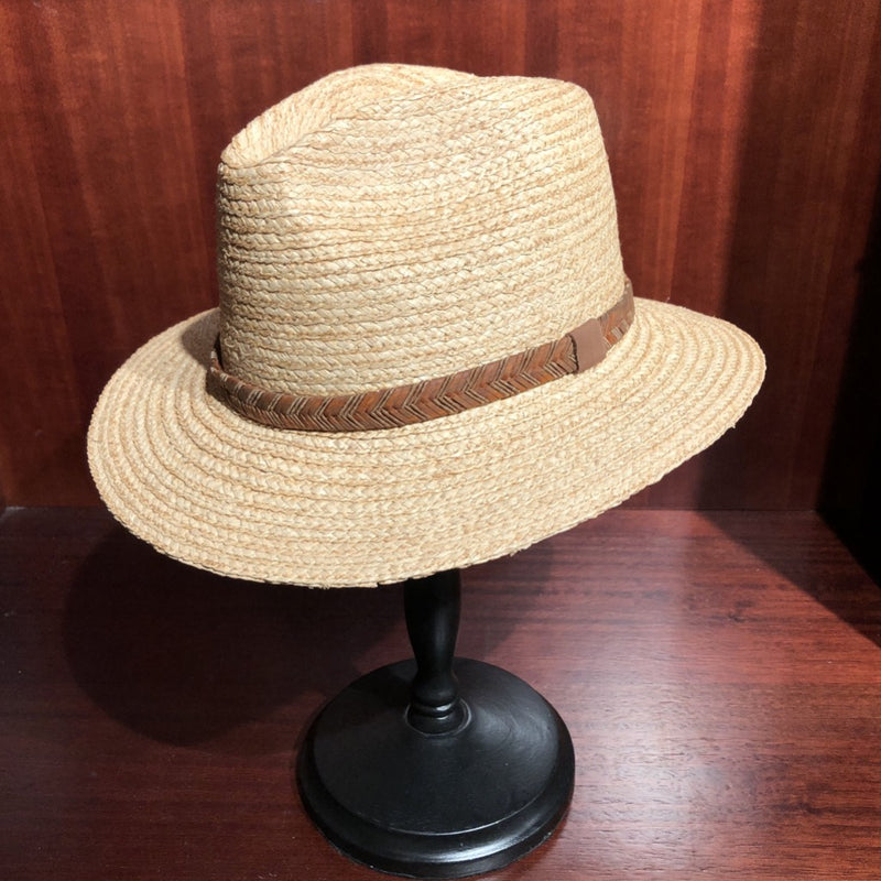Avenel Raffia Fedora with Leather Trim