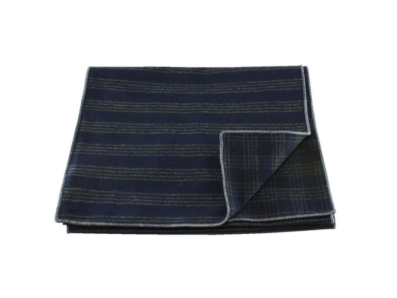 Scarf - Navy/Grey Double Sided Wool (Grey Edge)