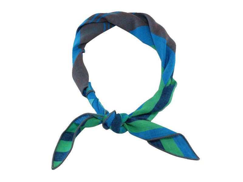 Neck Kerchief - Blue and Green Striped Cotton