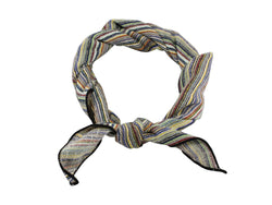 Neck Kerchief - Multi-coloured Striped Cotton