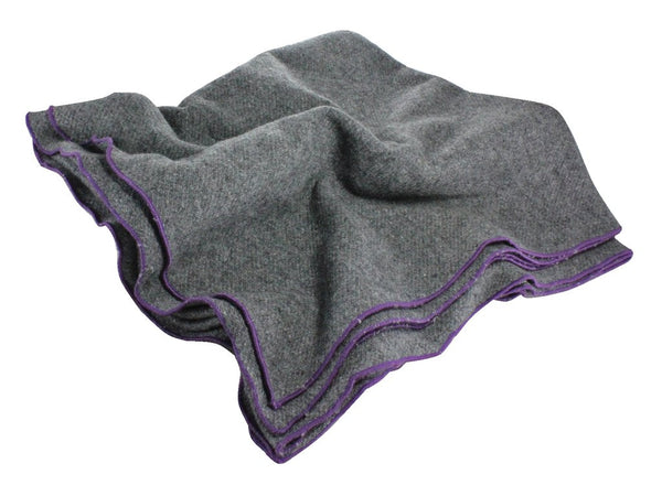 Blanket Scarf - Charcoal Wool (Purple Edge)