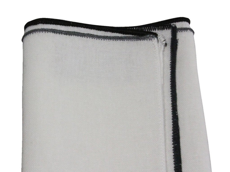 Pocket Square - White Linen (Black Edge)