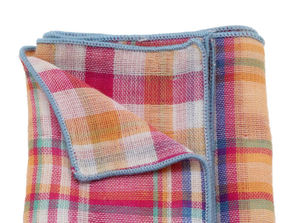 Pocket Square - Pink Plaid (Double Sided)
