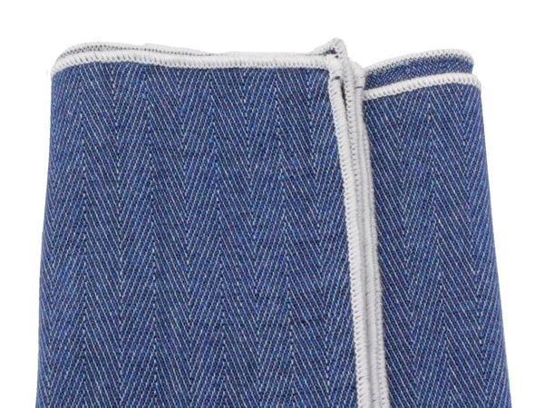 Pocket Square - Blue Herringbone