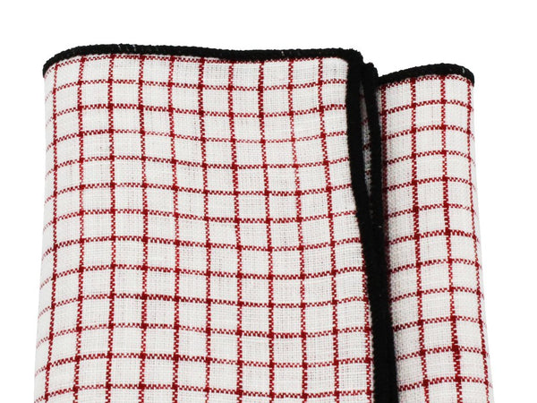 Pocket Square - Red Check Linen