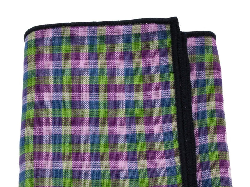 Pocket Square - Purple Check Cotton