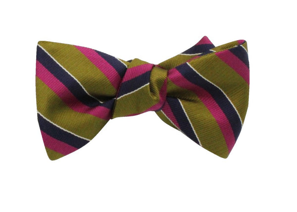 Bowtie - Olive Striped Silk