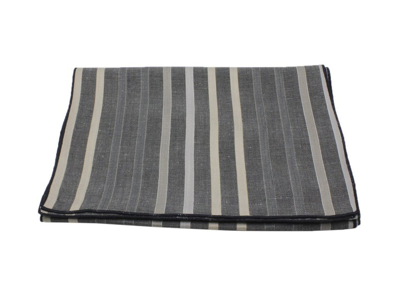 Scarf - Grey Striped Silk/Linen (Navy Edge)
