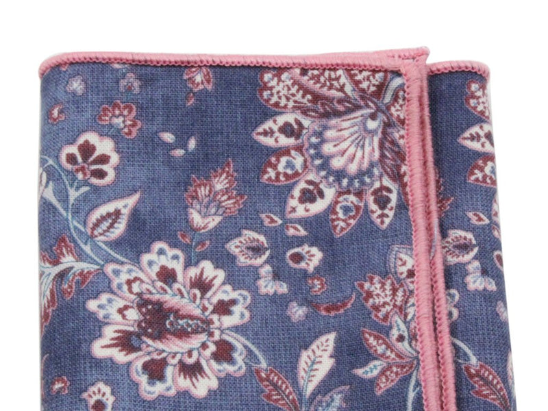 Pocket Square - Blue & Pink Floral Cotton