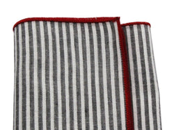Pocket Square - Charcoal Striped Cotton