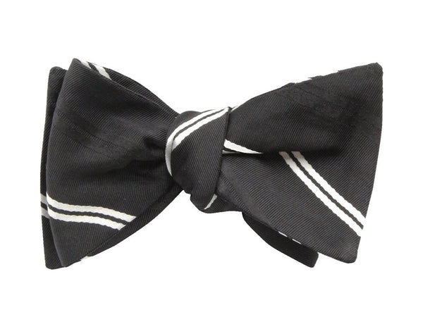 Bowtie - Black & White Striped Silk
