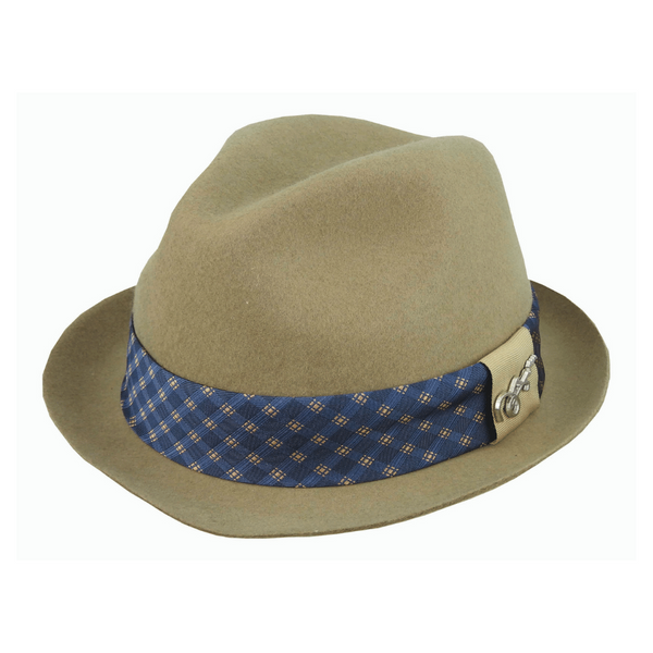 Angle view of Carlos Santana Arkade hat in Camel