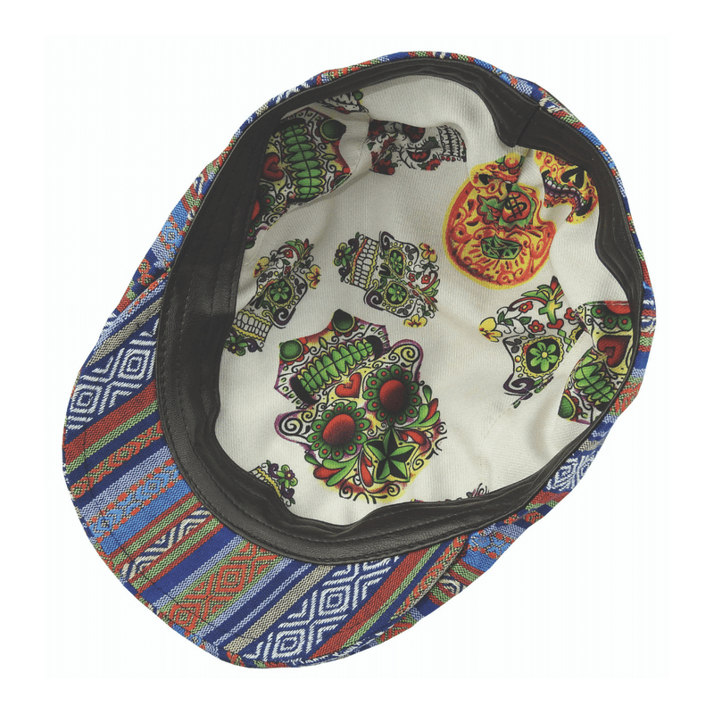 Underside view of Carlos Santana Maya cap showing Day of the Dead print lining
