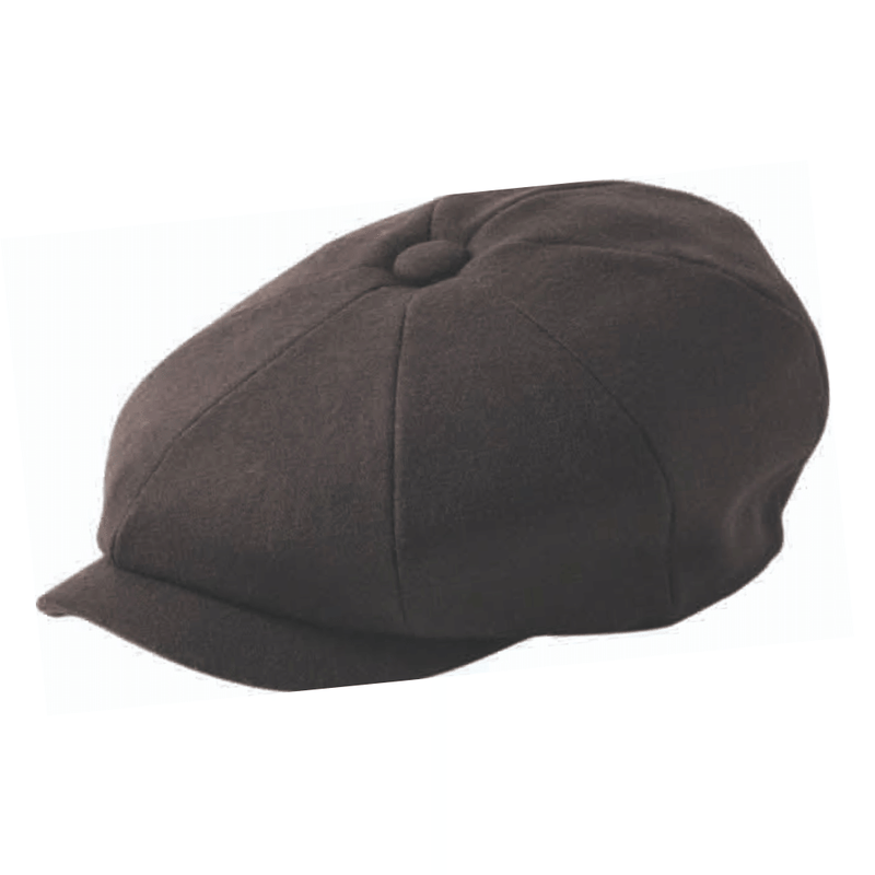 Failsworth Alfie Melton 8 piece newsboy paperboy style cap in chocolate