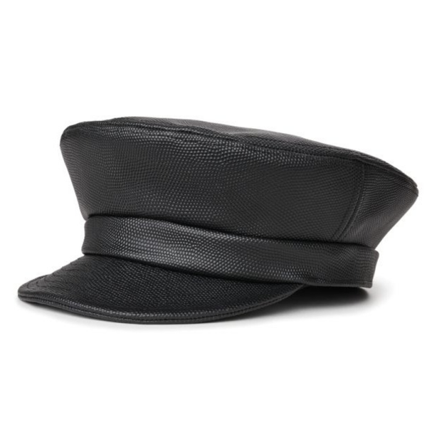 Brixton Unstructured Fiddler Cap - Black PU Leather