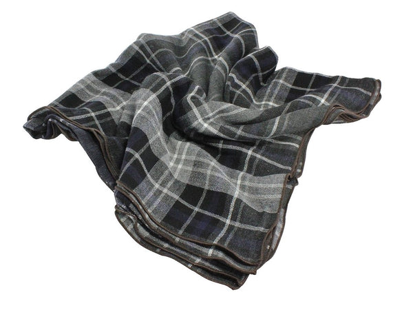 Blanket Scarf - Grey Check Wool (Brown Edge)