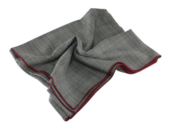Blanket Scarf - Grey Glen Plaid Wool (Burgundy Edge)