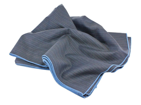 Blanket Scarf - Grey Striped Wool (Blue Edge)