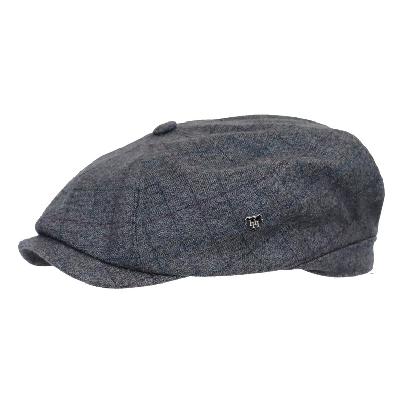 Side view of Hills Hats Harlow paperboy cap in grey
