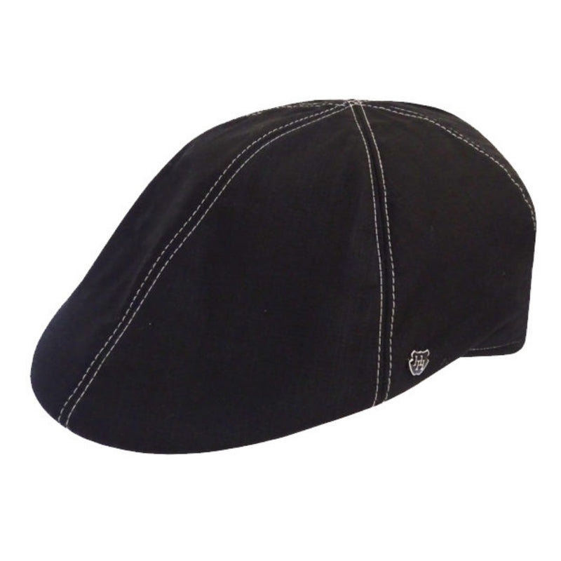 Angle view of Hills Hats Portland Linen Duckbill cap in black