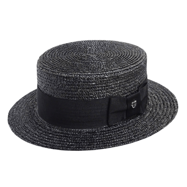 Angle view of Black Hills Hats Straw Boater hat