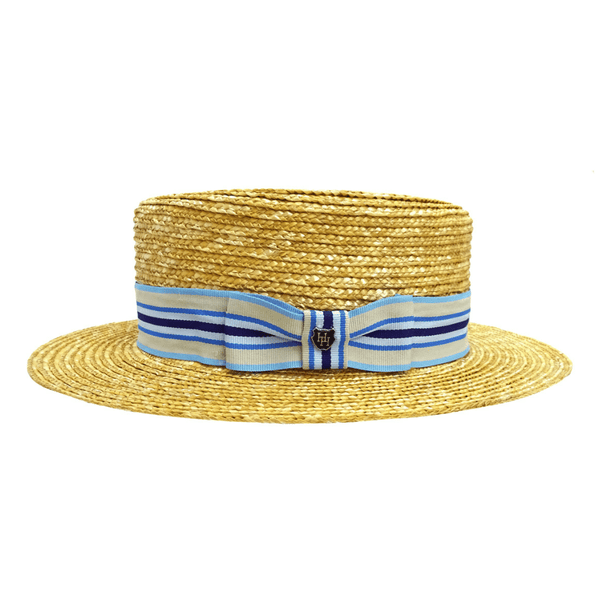 Side view of Hills Hats Straw Boater hat with pale blue and navy ribbon