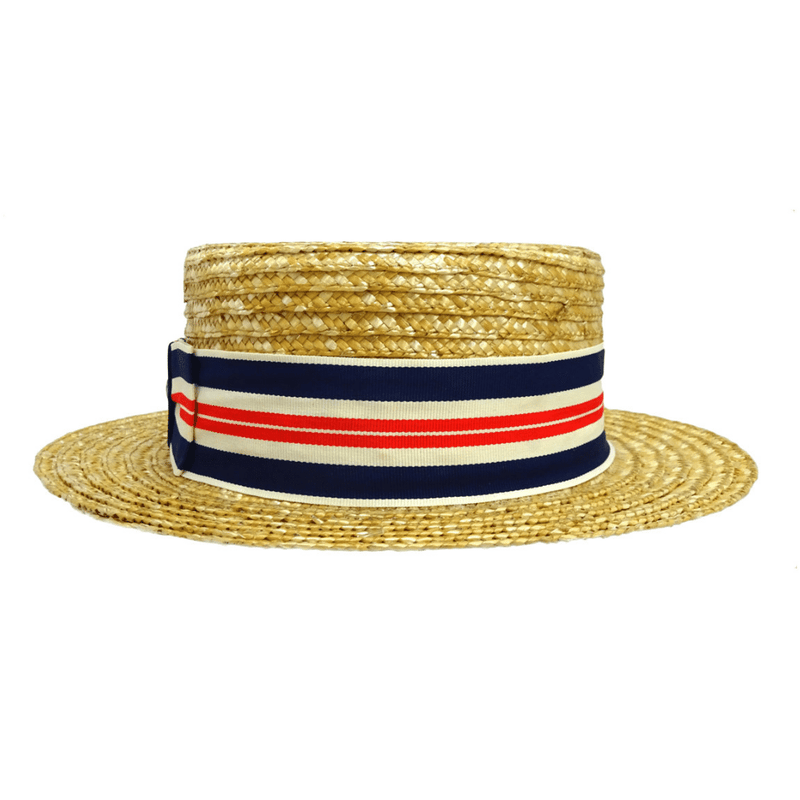 Rear view of Hills Hats Straw Boater hat