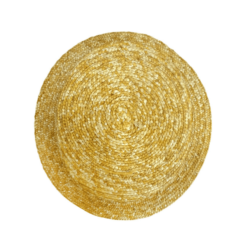 top view of Hills Hats Straw Boater hat