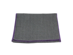 Scarf - Charcoal Striped Wool (Purple Edge)