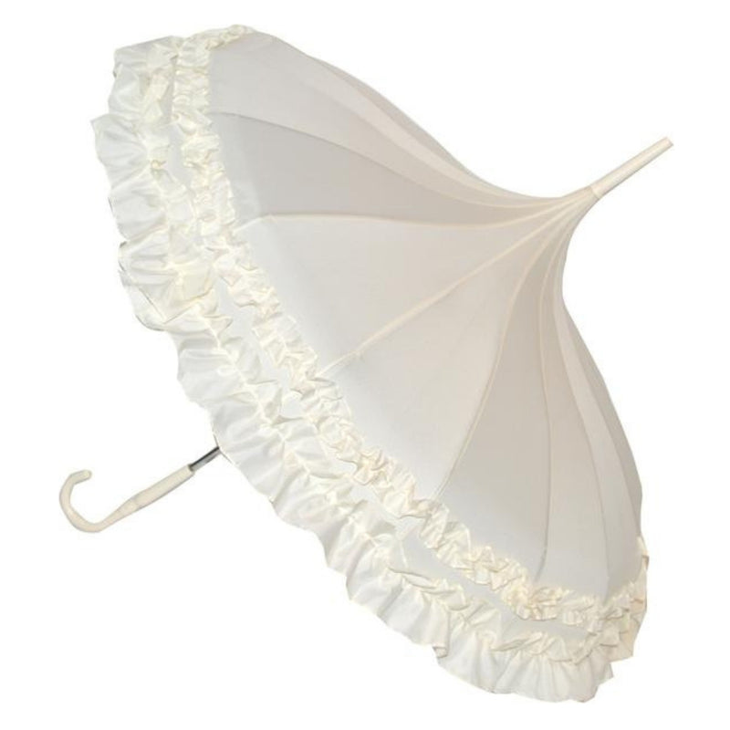 Soake beige frilled pagoda umbrella