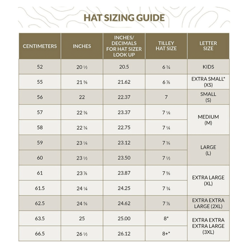 Tilley Hats sizing chart