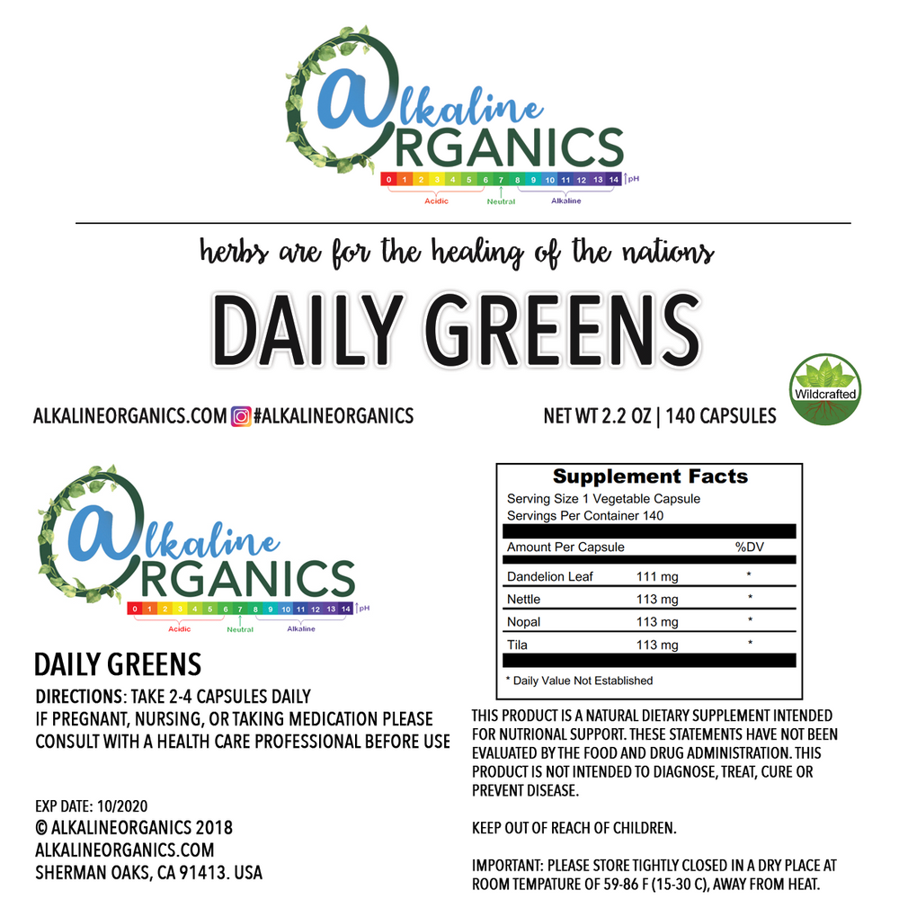 Daily Greens Capsules Nutrition
