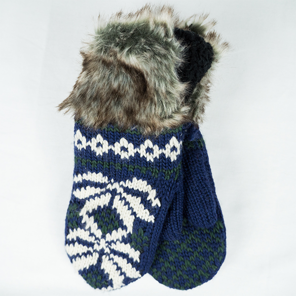 Lotus Mittens - Blue