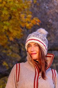 Heritage Cable Beanie with Faux Fur Pom Pom