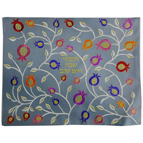 Faux leather challah cover with pomegranate motif