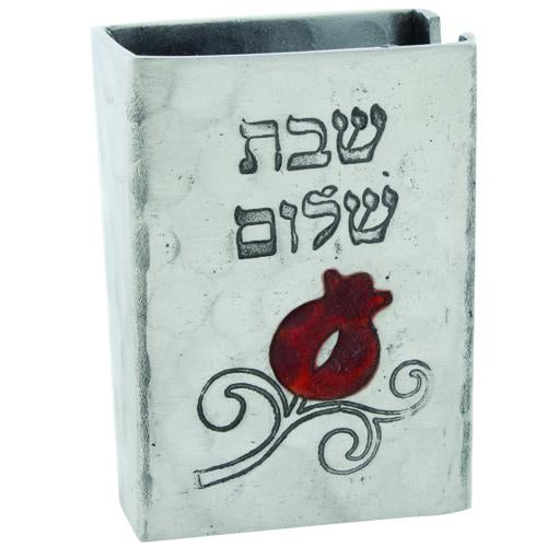 Aluminum matchbox cover with pomegranate design