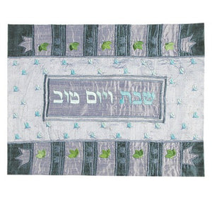 Raw Silk Appliqued Blue Crowns Challah Cover