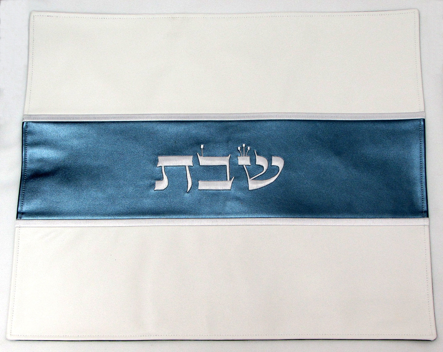 Faux leather challah cover in morning blue and off-white